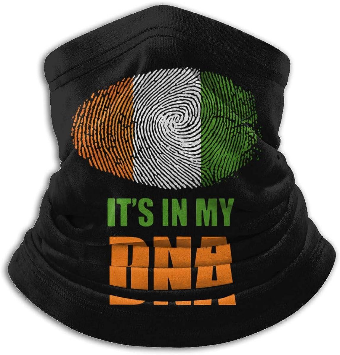 Irish Its In My DNA Irish Flag Mens Womens Face Mask Windproof Neck Gaiter Winter Bandana For Skiing Snowboarding