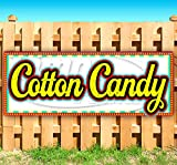 Cotton Candy 13 oz Heavy Duty Vinyl Banner Sign with Metal Grommets, New, Store, Advertising, Flag, (Many Sizes Available)