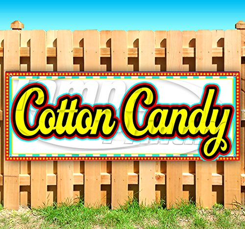 Cotton Candy 13 oz Heavy Duty Vinyl Banner Sign with Metal Grommets, New, Store, Advertising, Flag, (Many Sizes Available) by Tampa Printing