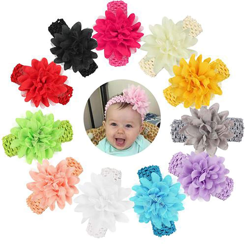 Flyes Baby Girls' Headbands Chiffon Flower Hair Accessories Lace Band Newborn Headwear