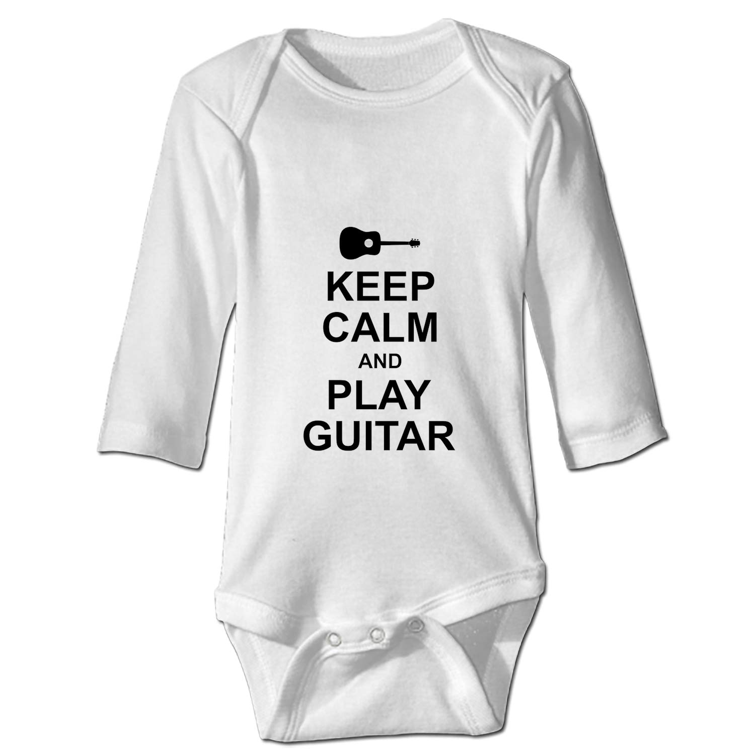 YSKHDBC Keep Calm and Play Guitar Printed Personalized Infant Bodysuit One-Piece