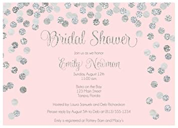 Brunch And Bubbly Bridal Shower Invitations Confetti Wedding Party Invites Brunch And Baby Sprinkle Rehearsal Dinner Customize Cards Champagne Silver