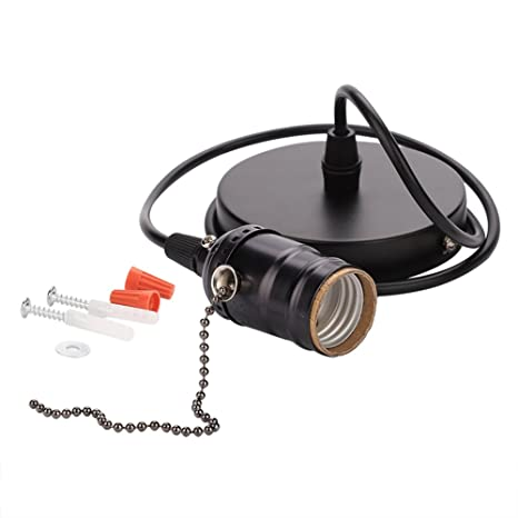 E27 Lamp Holder E27 Vintage Pendant Light Holder With Pull Chain Switch Lamp Base Ceiling Mounted Color Black