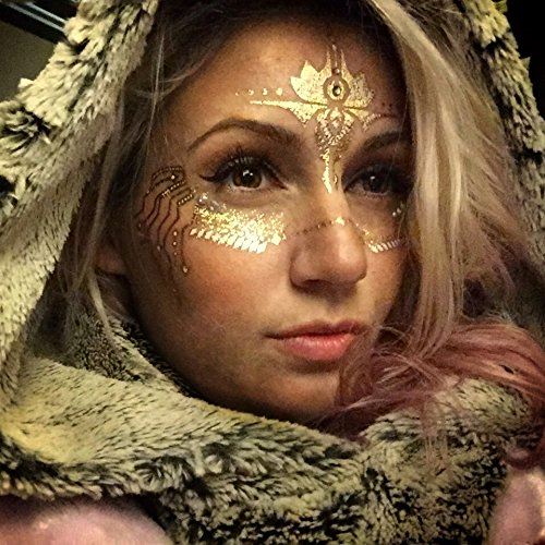 Gold Temporary Tattoos by Golden Ratio Tats, Festival Face Paint, Gold and White Flash Tattoos (CirquiTree Mask) by Golden Ratio Tats (Image #4)