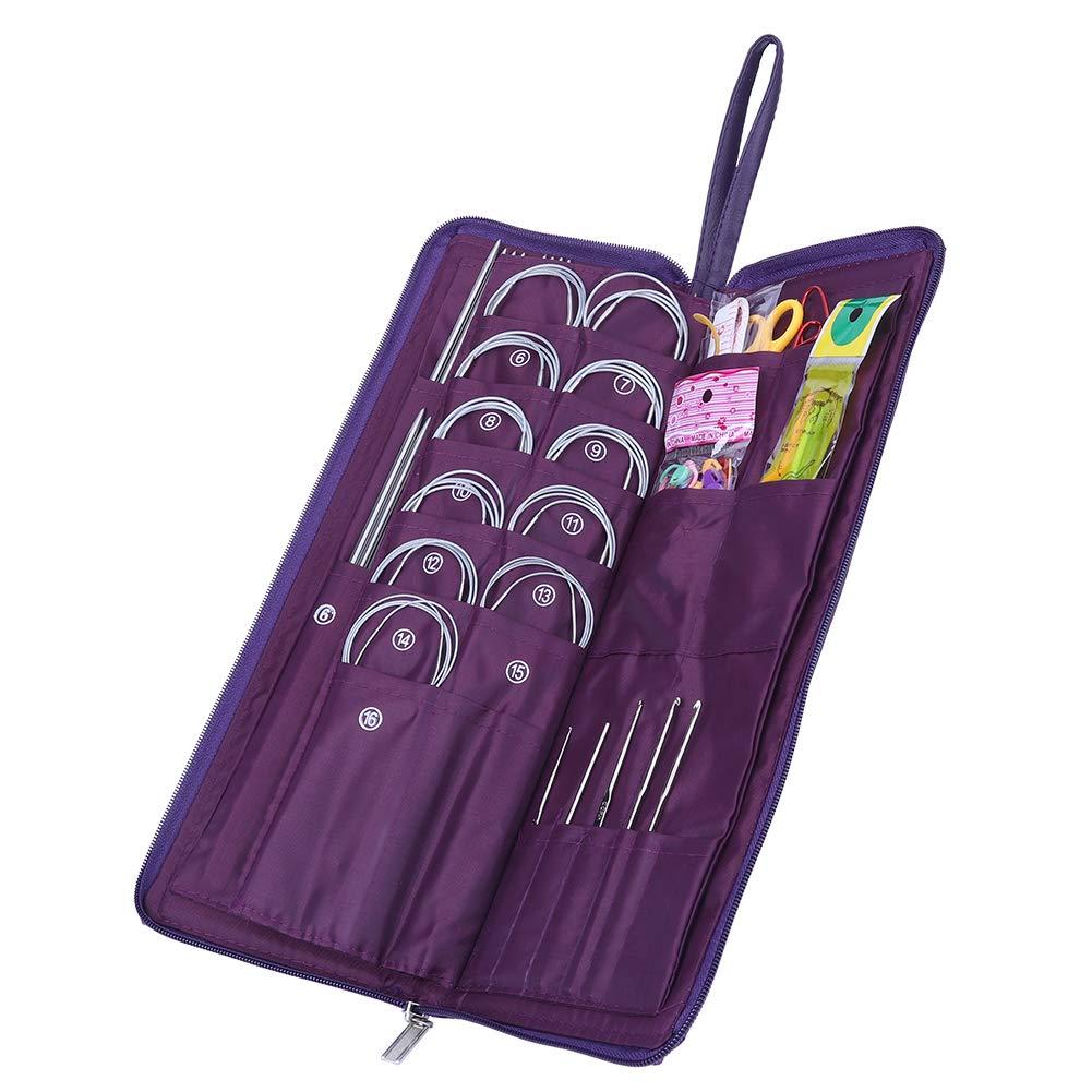 Yosoo 104pcs Knitting Kit Stainless Steel Straight Circular Knitting Needles Crochet Hook Needlework Weave Set Hand Tool Accessorieswith Pu Bag