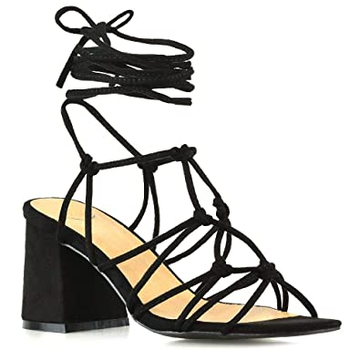 1e8a928cabce ESSEX GLAM Womens Lace Up Sandals Ladies Black Faux Suede Low Mid Block  Heel Strappy Caged