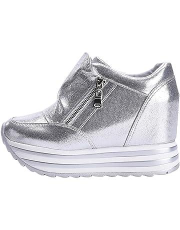 Zapatos para Mujer Ocio Zipper Aumento Shoes Deporte Punta Redonda Antideslizante Zapatillas Fondo Grueso 2019