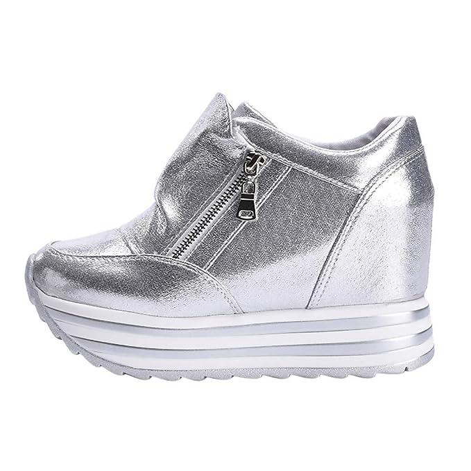 the latest 3caa8 88896 LANSKRLSP Sneakers Donna con Zeppa Stivali Plateau Moda ...
