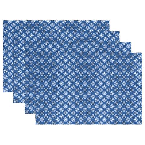 Toddy Astridd White Rudder Denim Decoration Placemats for Dining Table Set of 1 Heat-Resistant Stain Resistant Kitchen Table Mats Washable Placemat