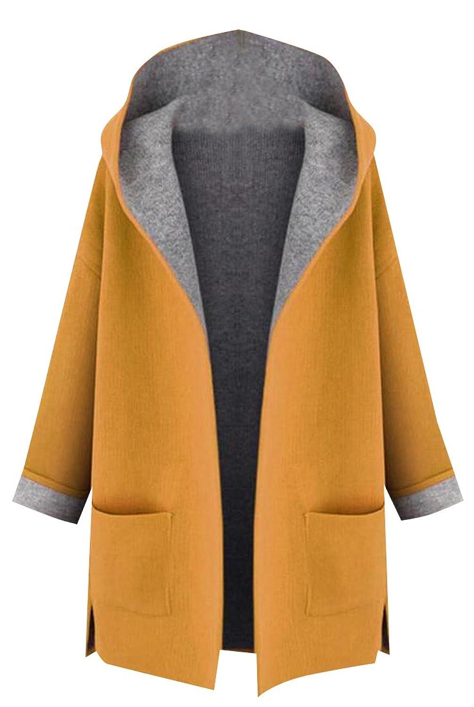 Comfy Women's Long Sleeve Hooded Stylish Jacket Trenchcoat
