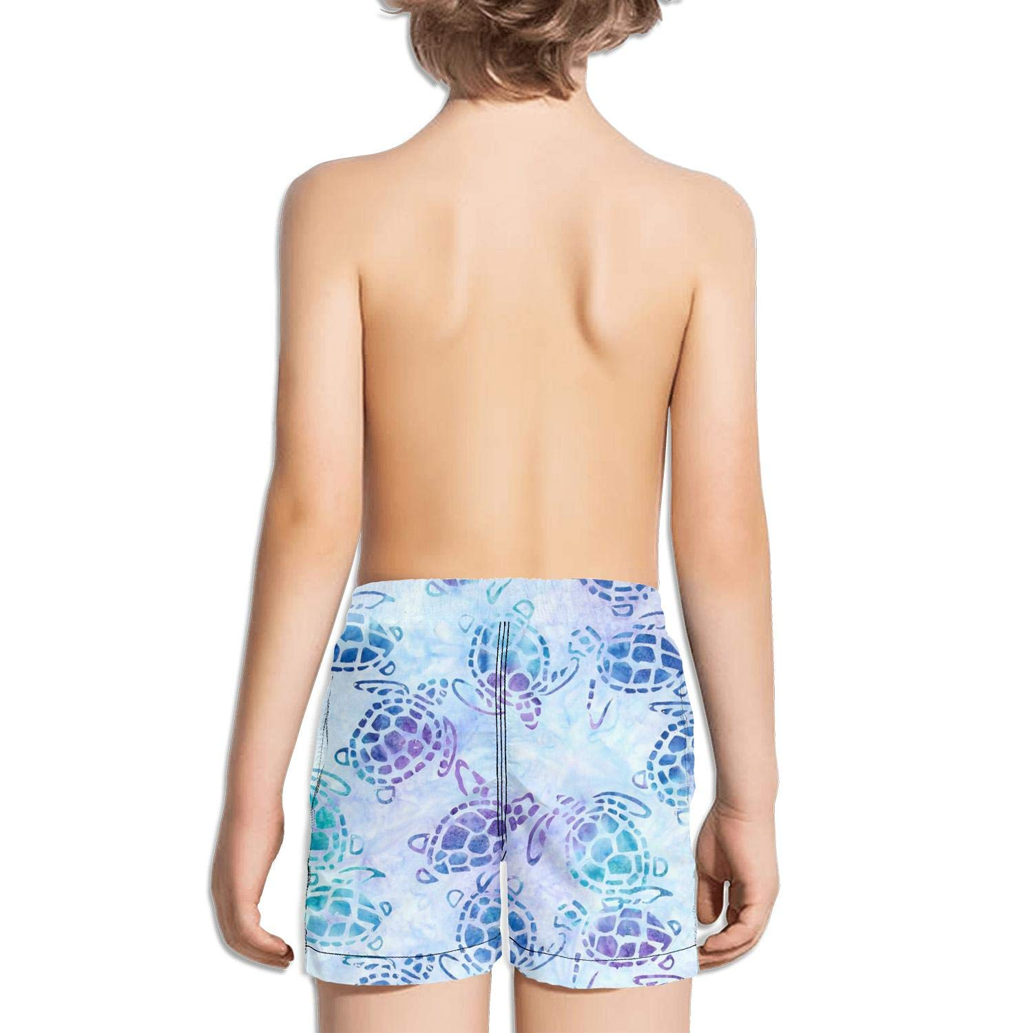 Sea Turtle Art Boys Girls Swimming Trunks Beach Board Shorts Ruched Quick Dry Funny Summer Kids Short Pants