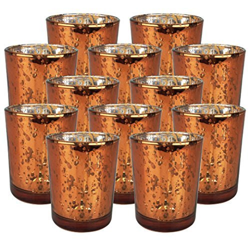 Just Artifacts Speckled Mercury Glass Votive Candle Holder 2.75″H (12pcs, Copper Votives)  ...