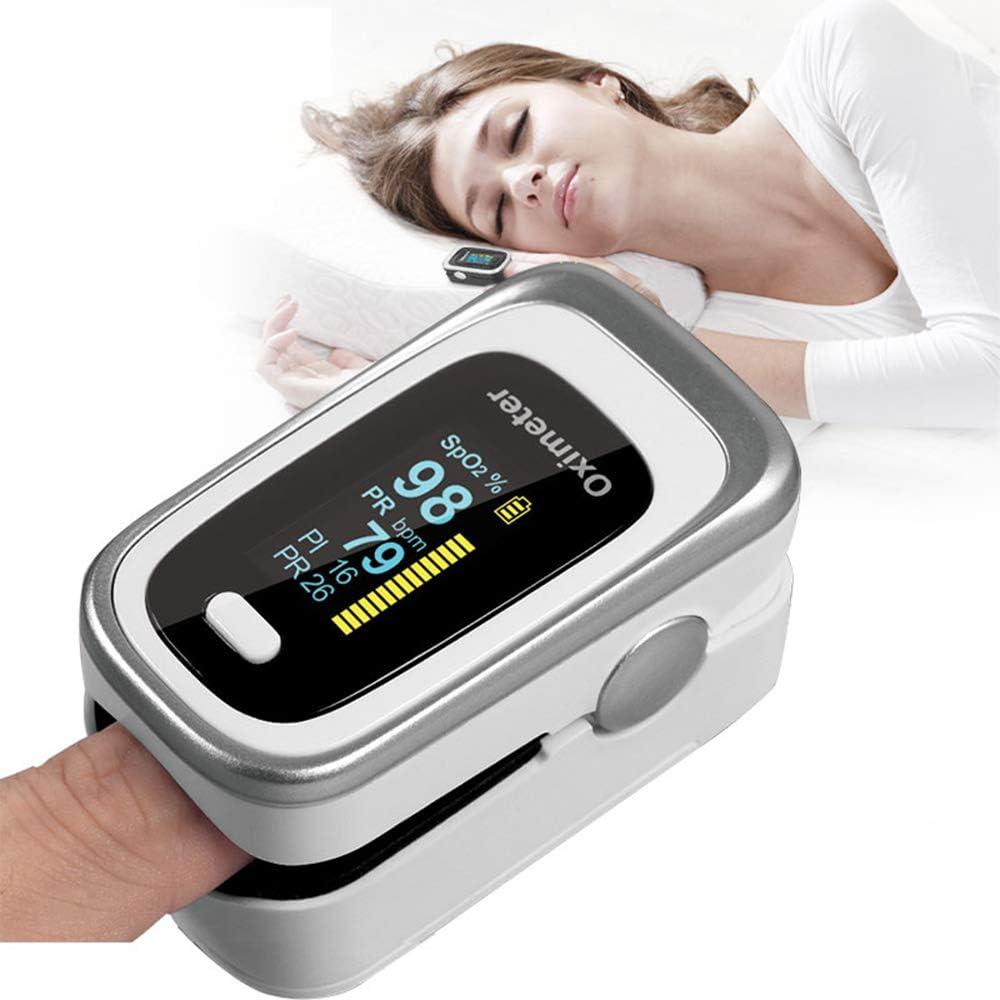 JJIIEE Monitorización de oximetría de la yema del Dedo del oxígeno del Pulso, SpO2, Valor del Pulso PR, PI, monitorización de la frecuencia respiratoria, la monitorización del sueño con Pantalla LED