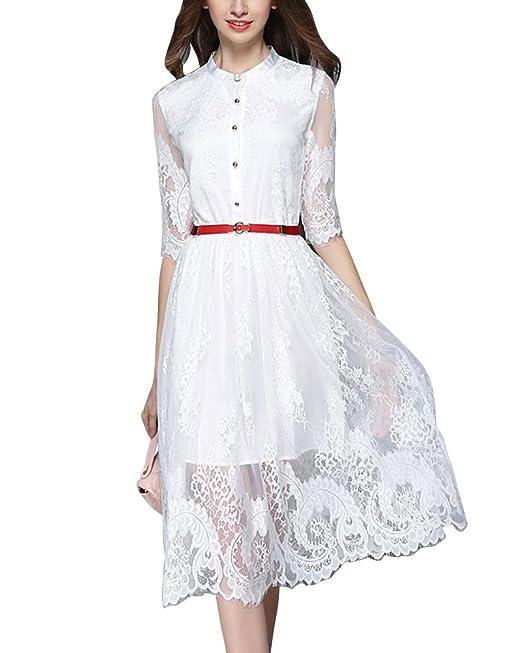 Vestidos Encaje de Fiesta Mujer Vintage Manga Corta Vestido de Novia Blanco L