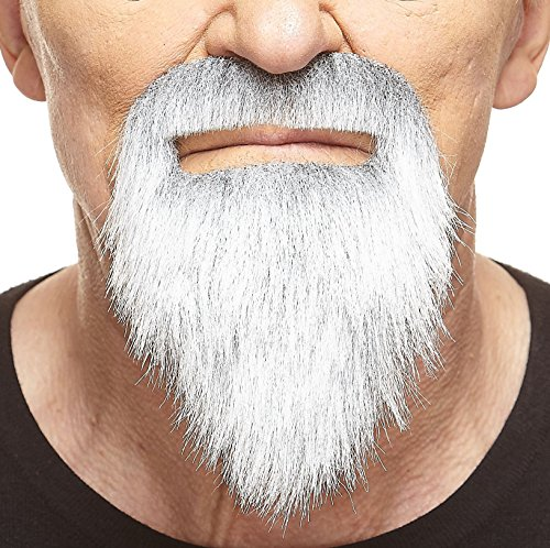 Mustaches Self Adhesive, Novelty, Ducktail Fake Beard, False Facial Hair, Costume Accessory for Adults, Gray with White Color