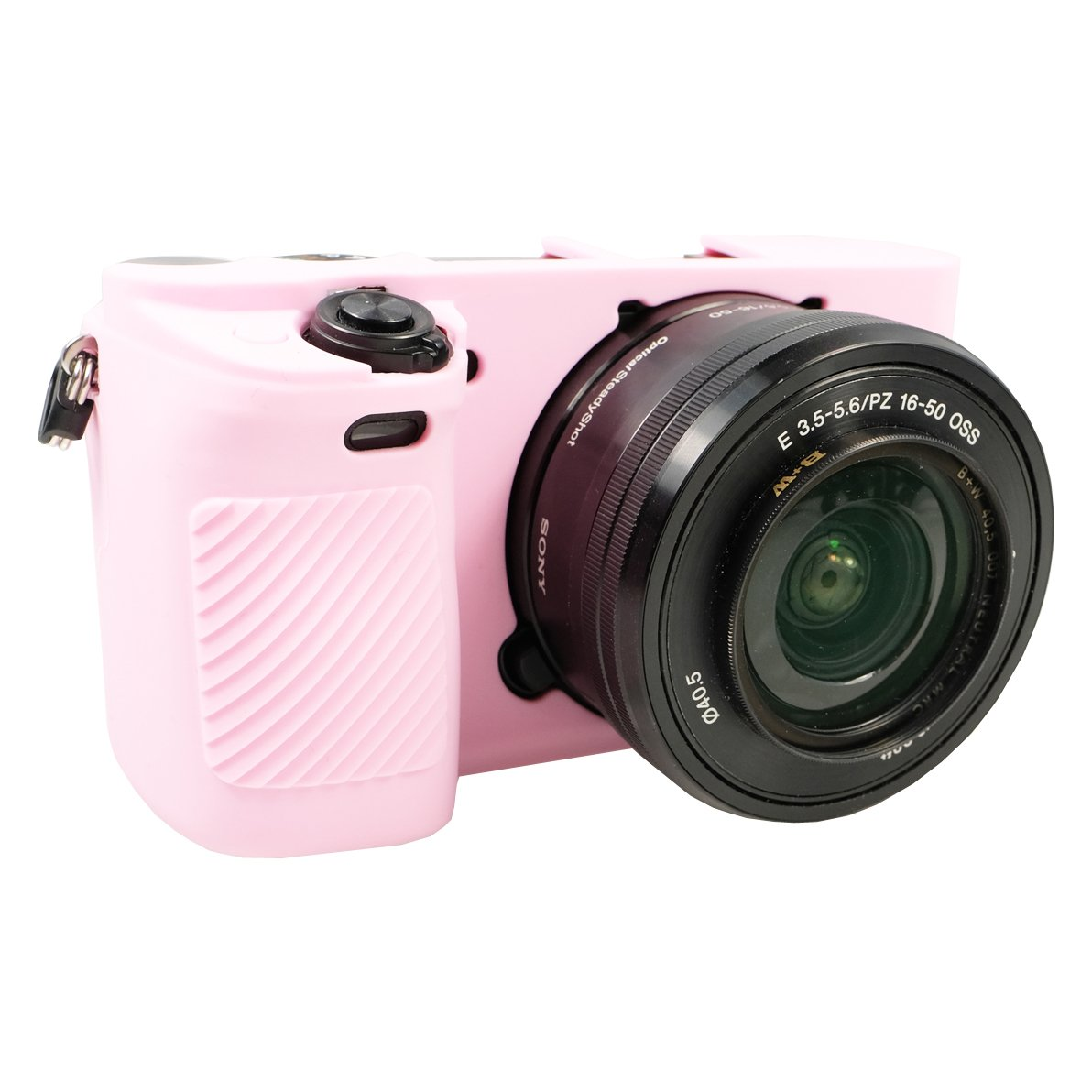PhotoTrust Pink Silicone Case Soft Protective Skin For Sony Alpha A6300 A6000 Fits All Lens