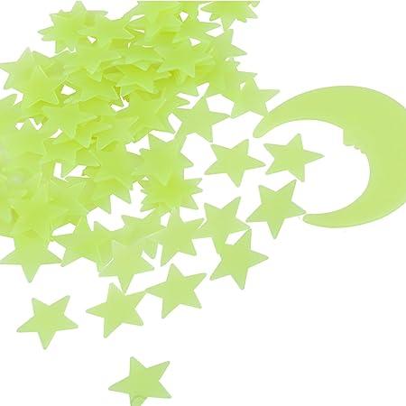 Tamaño: 99 piezas de estrellas y una luna están incluidas en el paquete. Las estrellas son de aproxi