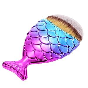 Anself - 1 Uds. Profesional Brocha para Fundación / Colorete / Polvo de Maquillaje, En Forma de Cola de Sirena