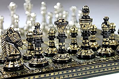 Chess Board Set Brass Antique Collectible Game Board Handmade Large Pieces 14""