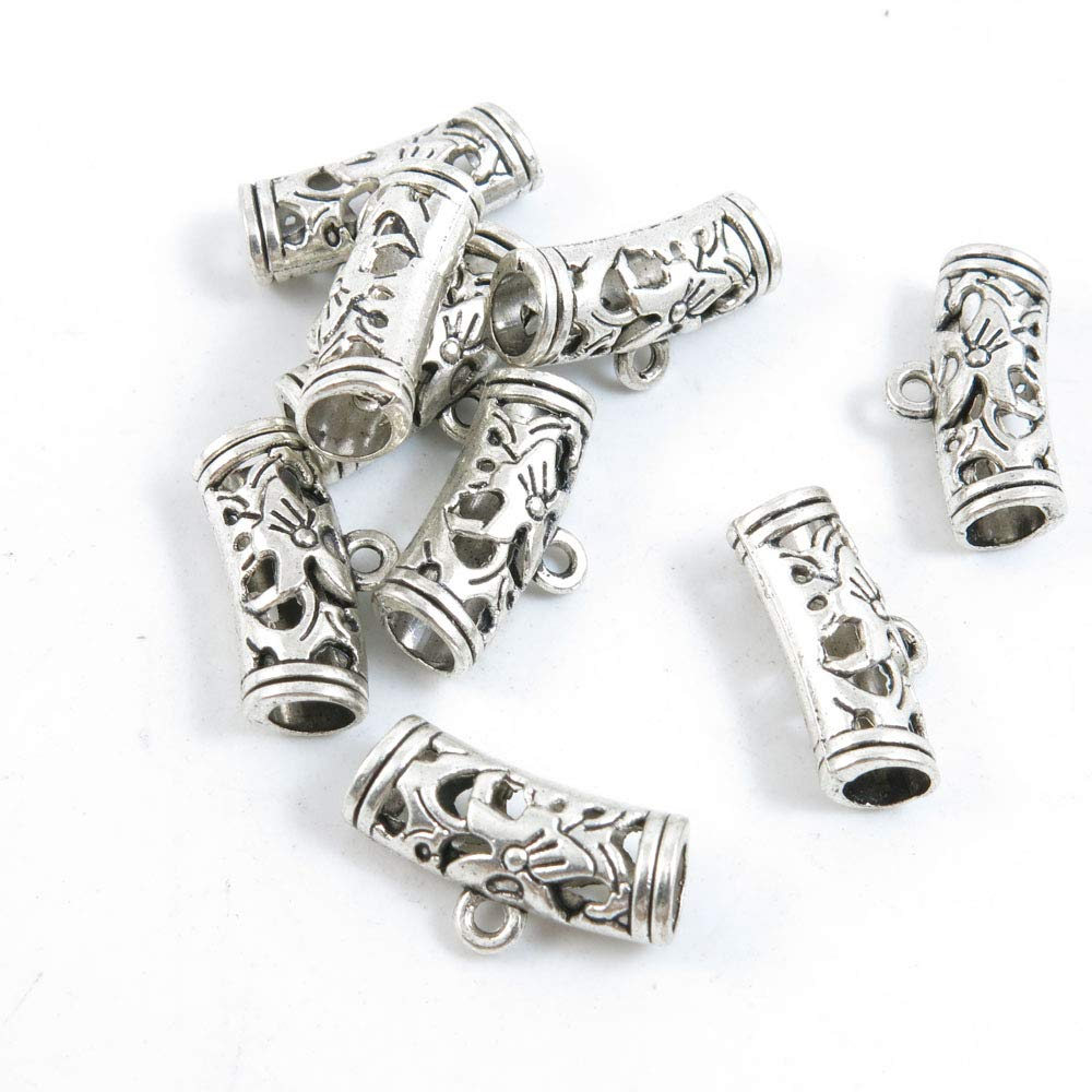 1470 Pieces Antique Silver Tone Jewelry Making Charms Crafting Beading Craft G9MA7 Tube Bead Bails Cord Ends