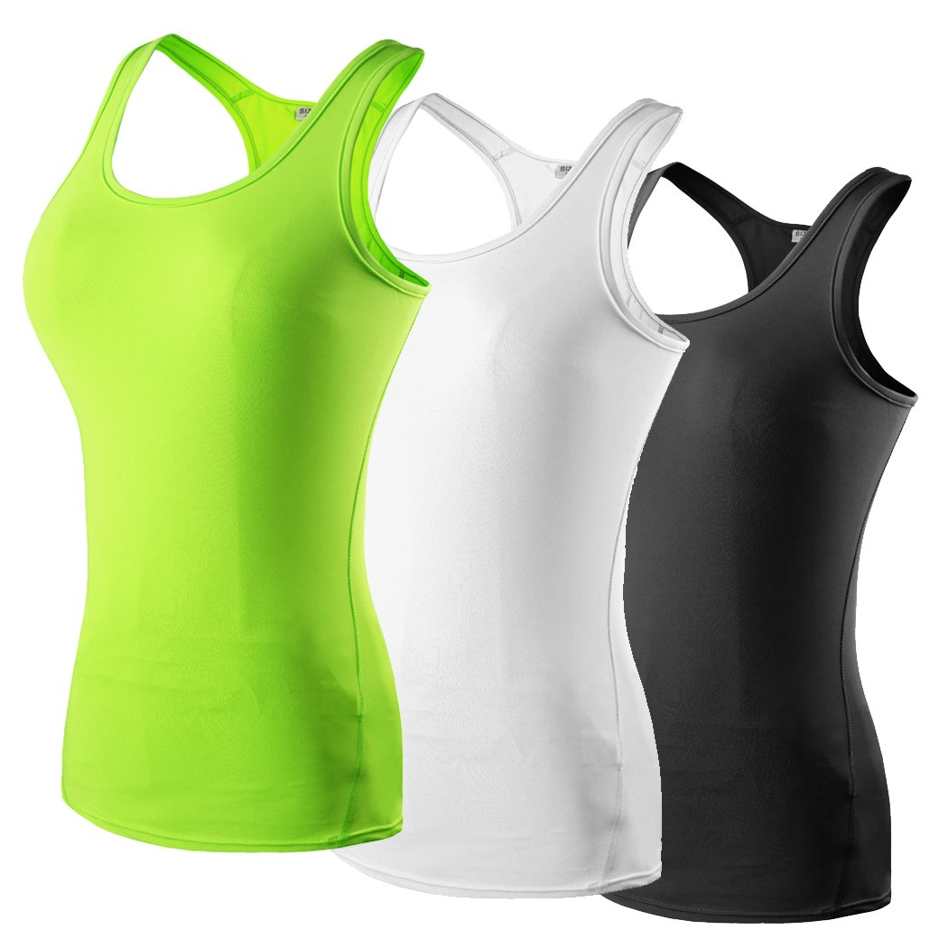 HOP SPORT Women's Sleeveless Quick Dry Compression Workout Yoga Body Building Tank Tops Summer T-Shirt 2002-Black-White-Green-S