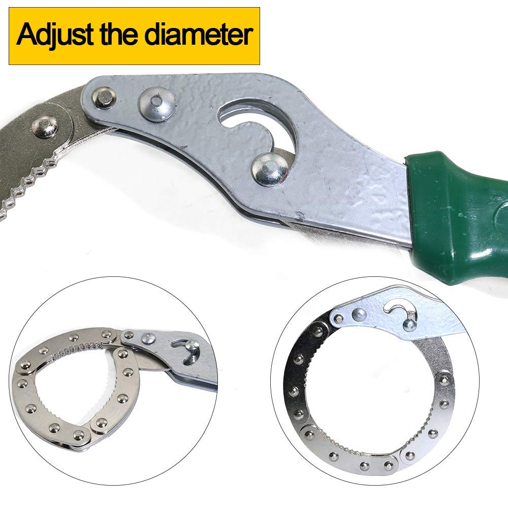 VERNBRIN Adjustable Oil Filter Wrench Universal Handcuff Style Remover Tool Spanner Non-Slip Fit Diameter 2.75-3.54//70mm-90mm Pipe Fitting and Oil Filter