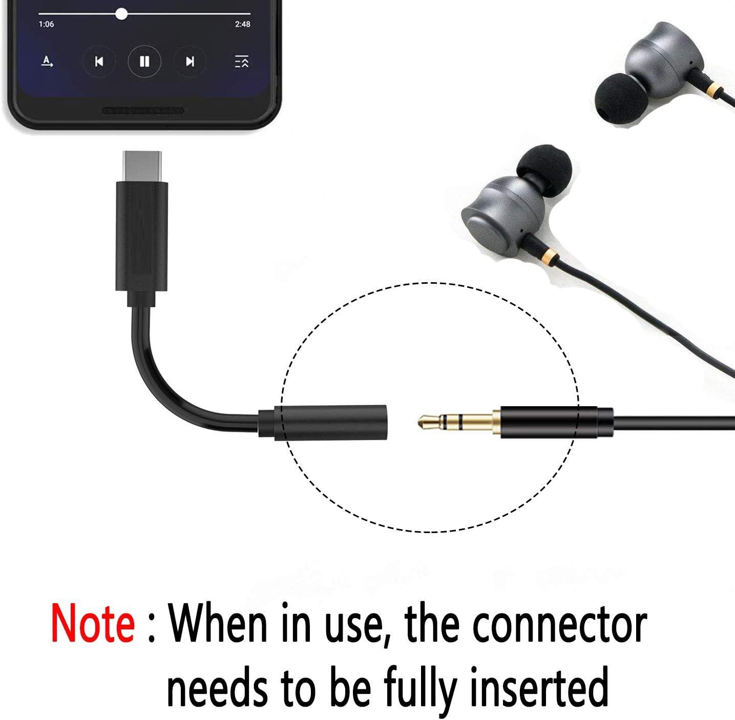 Samsung Note8//S8//S9 Plus USB-C to 3.5 mm Headphone Jack Adapter Type C to 3.5mm Aux Audio Converter HTC U12 LG iPad 2018//Motorola Moto Z//OnePlus 6T Black Support for Google Pixel 3//3 XL//2// 2XL
