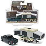 New 1:64 HITCH & TOW SERIES 8 - GREEN 2015 FORD F-150 WITH POP-UP CAMPER TRAILER Diecast Model Car By Greenlight