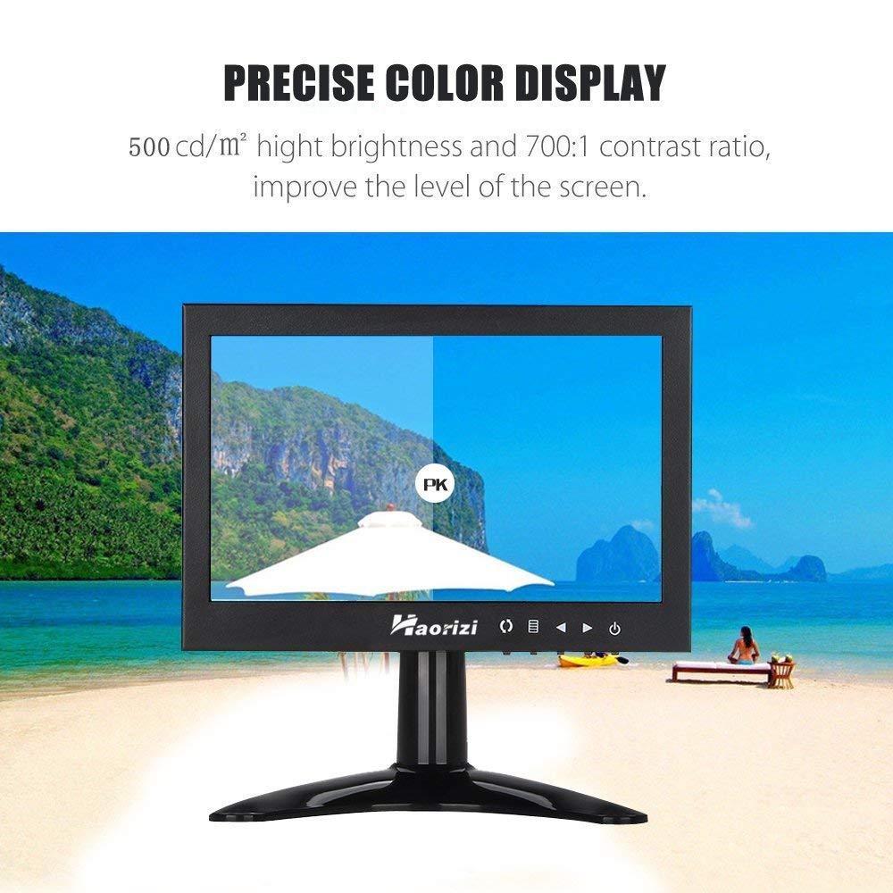 Haorizi 7 Inch HD LED Security CCTV Monitor 1024x600 High Resolution Mini Small Display Screen Metal Housing with HDMI/BNC/VGA/AV Input for PC DVD DVR Builtin Dual Speakers by Haorizi (Image #4)