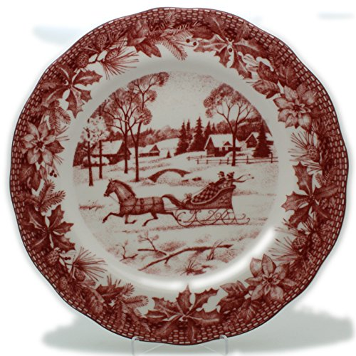 Porcelain Toile Plate (222 Fifth Poinsettia Toile Winter Fine China Dinner Plates, Set of 4, Circle)