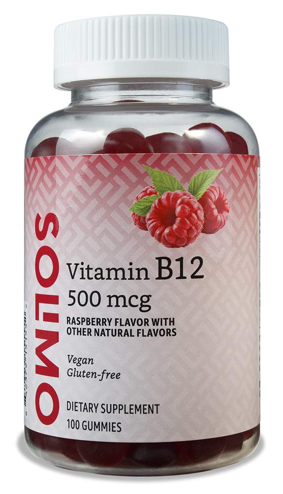 Amazon Brand - Solimo Vitamin B12 500 mcg - Normal Energy Production and Metabolism, Immune System Support - 100 Gummies (2 Gummies per Serving)