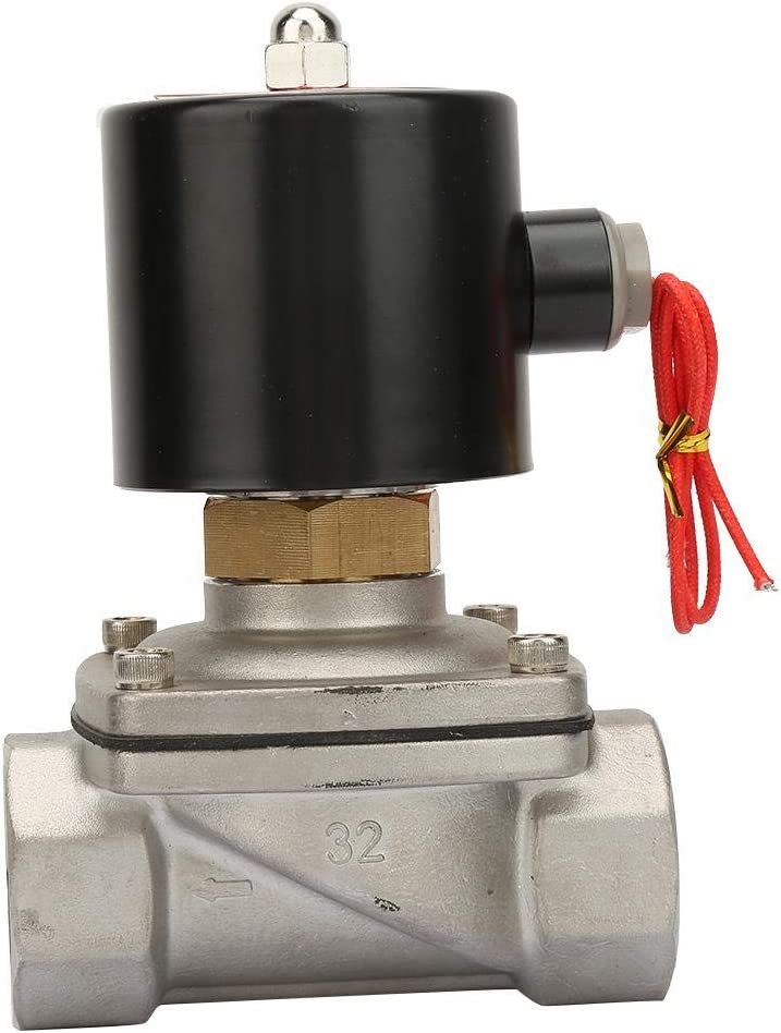 AC220V Electric Solenoid Valve 2S350-35 G1-1//4 Normally Open Stainless Steel Electric Water Solenoid Valve for Water Air