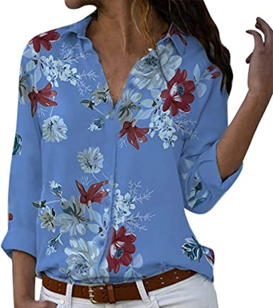 Women Long Sleeve V neck Floral Tops Blouse Casual loose Fashion Shirt Plus Size