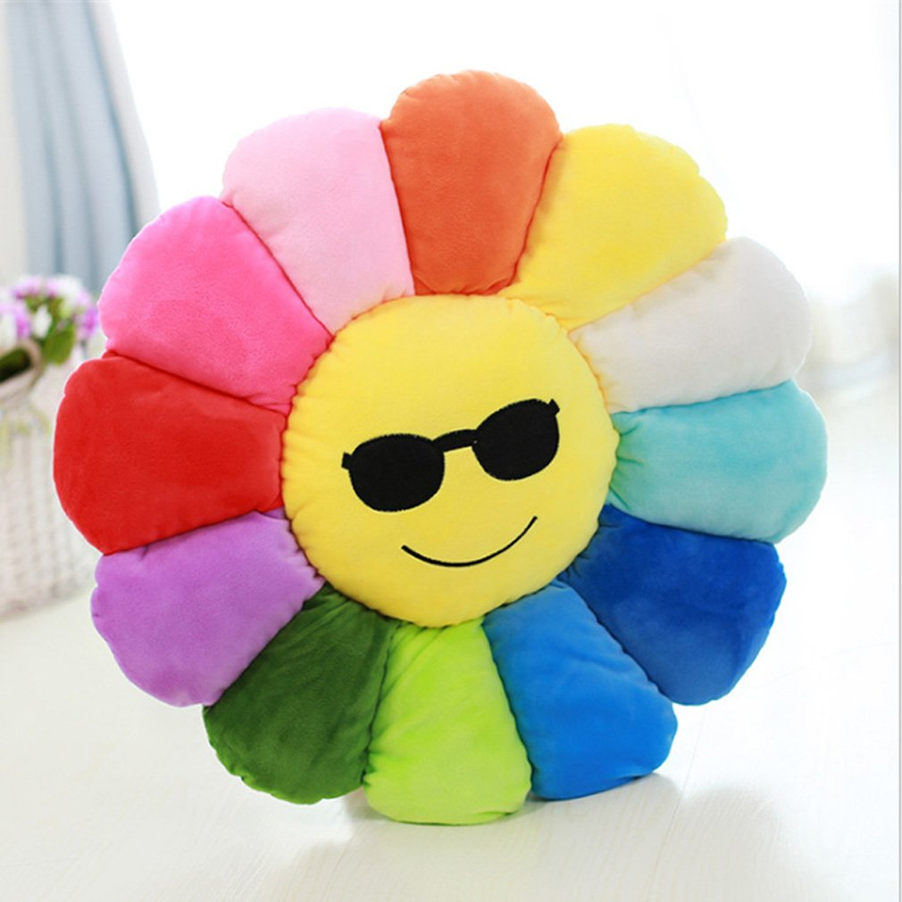 Nunubee Novelty Cute Stuffed Cotton Emoji Flowers Toys Pillow Cushions for Floor Sofa Home Decoration 7000K0374MMC