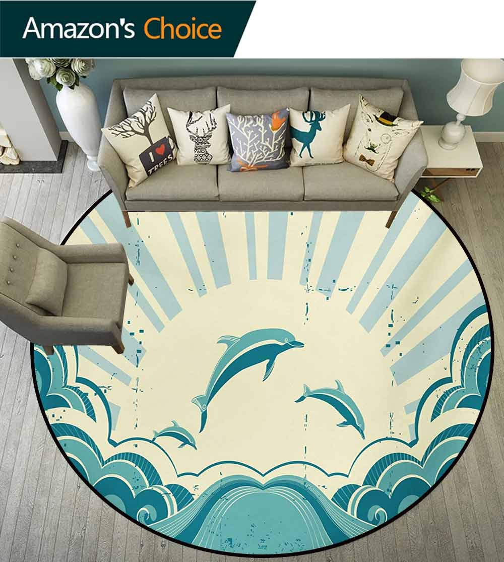 RUGSMAT Dolphin Modern Machine Round Bath Mat,Nautical Inspirations in Dolphins with Rising Sun and Swirled Ocean Waves Non-Slip No-Shedding Kitchen Soft Floor Mat,Round-31 Inch Teal Pale Yellow