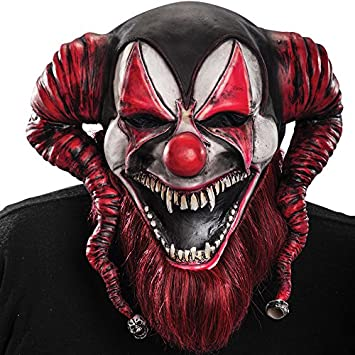 Amazon.com: Carnival Toys 1437 – Demon Clown Latex Mask with ...