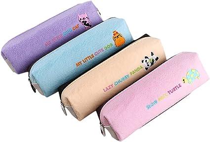 Fablcrew - 4 bolsas de maquillaje para niños, estuche de almacenamiento para lápices, fieltro, bordado, dibujos animados, 9 x 5 x 5 cm, morado, rosa, amarillo, azul: Amazon.es: Oficina y papelería