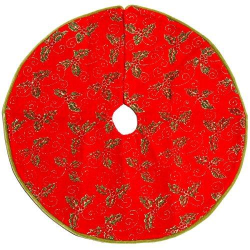 (Darice Christmas Decoration Miniature Tree Skirt - Golden Leaves Green Velvet - 18 Inches)