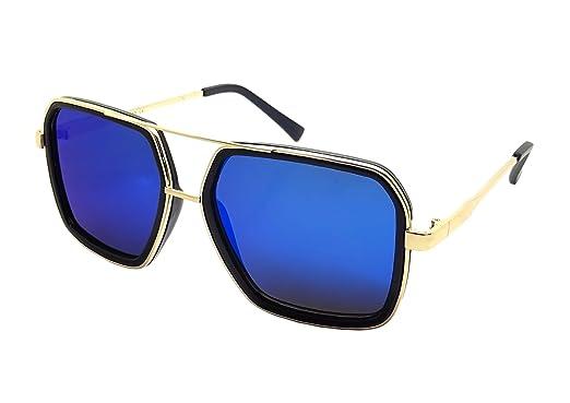 Grosses Lunettes Soleil XXL MIROIR Carré GOLD Swag KAZAL Money Flow BLING  OR (Bleu) 373c9ce7e341