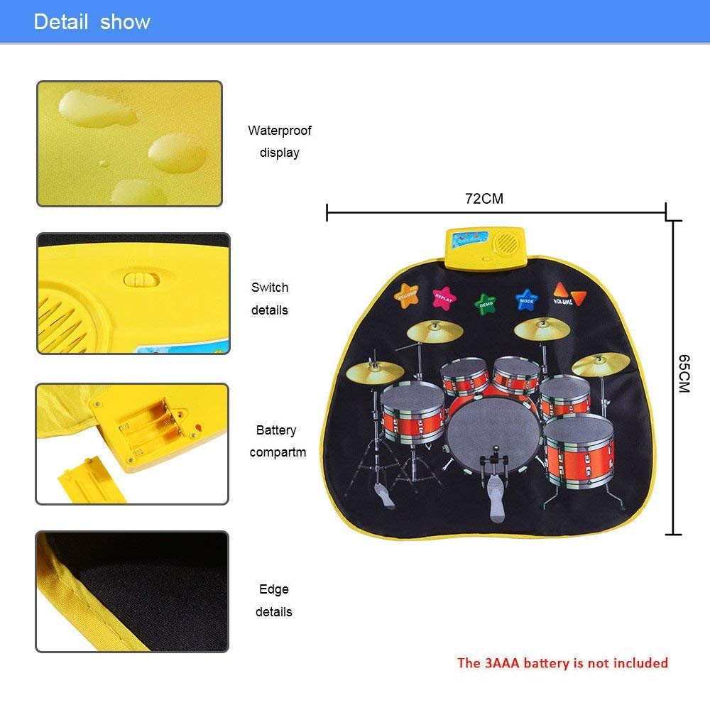 Electronic Musical Jazz Drum Mat Music Blanket Carpet Educational Toy Amazing Gifts for Boys & Girls and Baby Kids 72x62cmM by Mefashion (Image #4)