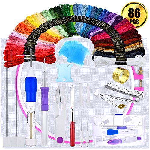 Magic Embroidery Pen Punch Needle Embroidery Needles Stitching Punch Pen Set, Including 50 Color Threads, Embroidery Hoop and Others by WXJ13