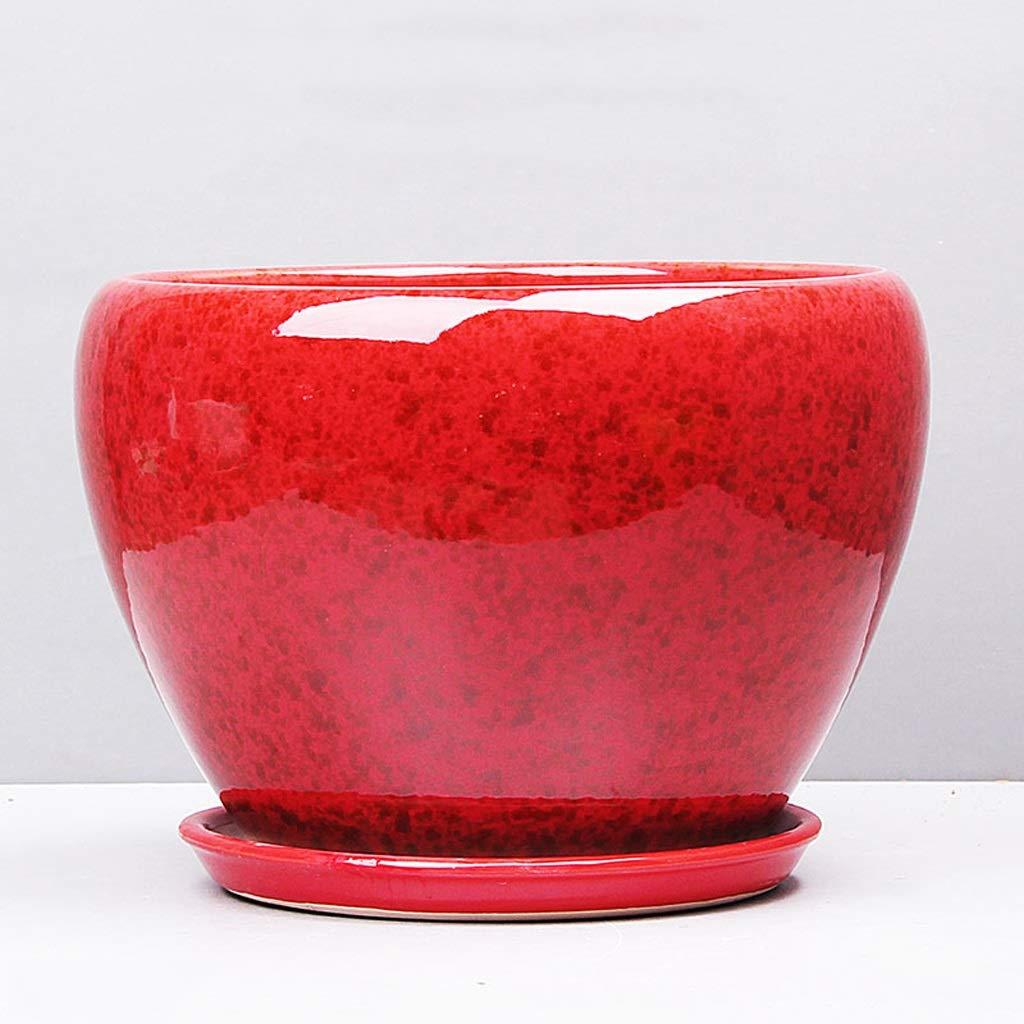 CKH Pot di Fiore di Ceramica di Stile Cinese Lanterna di Luo LAN LAN Domestica Assorbente verde conservata in Vaso Balcone di Fiore Rosso (Dimensione   S)