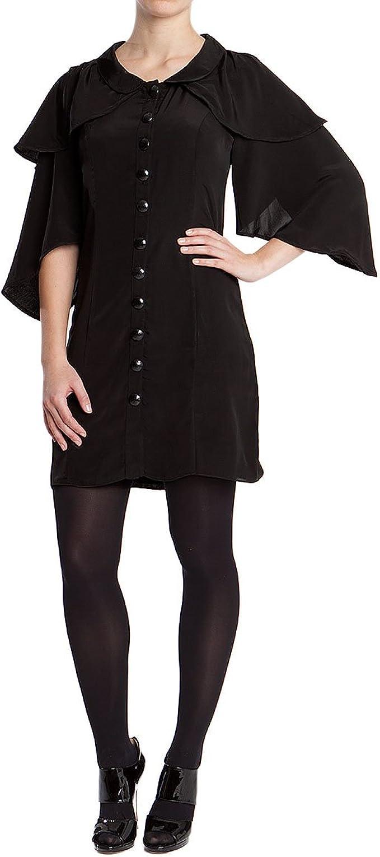 Damen Kleid Schwarz Vorn Geknopft Leicht Ausgestellt Mit Trompetenarmeln Und Bubikragen L 40 Amazon De Bekleidung