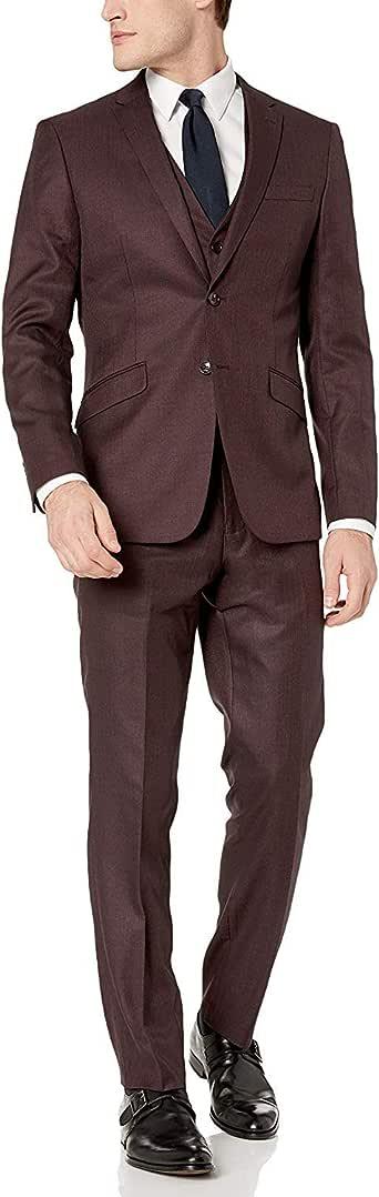 Adam Baker Men's Slim Fit 3-Piece (Jacket, Vets, Trousers) Notch Lapel Linen Feel Suit Set - Colors