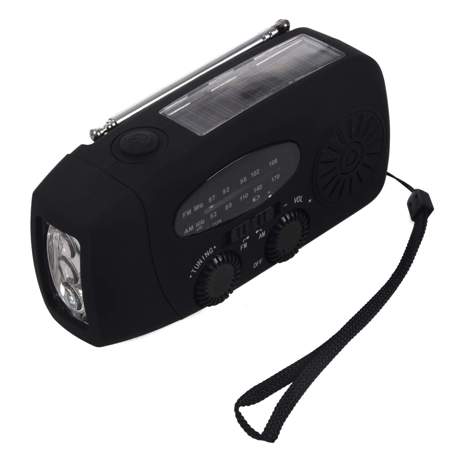 SODIAL(R) Waterproof Portable Hand crank Solar Radio AM / FM 3 LED Flashlight Phone Charger black