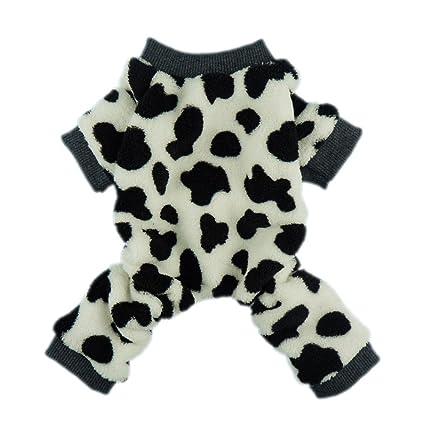 f03be777f2c6 Fitwarm Adorable Milk Cows Pet Dog Clothes Comfy Velvet Winter Pajamas Coat  Jumpsuit