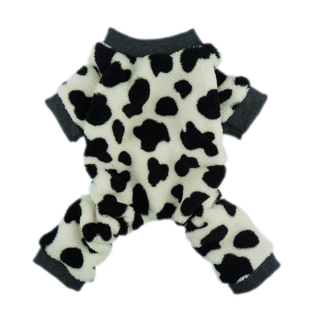 Fitwarm Adorable Milk Cows Pet Dog Clothes Comfy Velvet Winter Pajamas Coat Jumpsuit, X-small