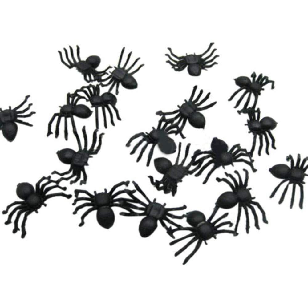Dinglong Araignée, DIY Mini Plastique Noir Lumineux araignée Farce blagues Anniversaire Jouets DIY décoratifs araignées 2cm Partie Accessoires (100pcs)