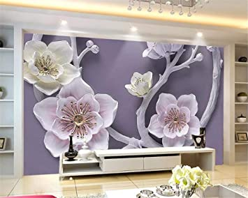 YUANLINGWEI Custom Mural Wallpaper 3D Fashion Relief Floral For ...