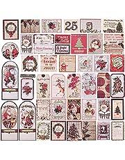 Kerst Klassieke Sticker Etiketten, 50 stuks Zelfklevende Tag Stickers Vakantie Decoratieve Cadeaus Etiketten Decals Kerst Decoratieve Cadeaus Etiketten Inpakpapier en Gift Zakken Decoratieve Tags